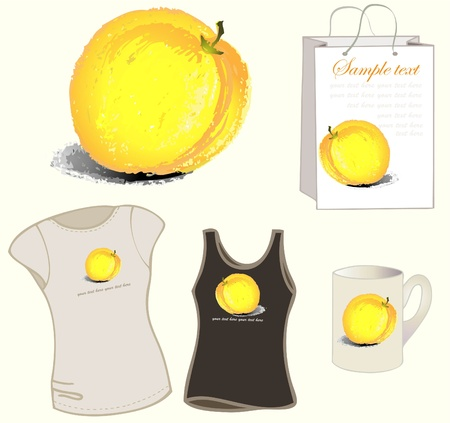 Element for design. Illustration  peach, bag, cup, womens t-shirt. Vector