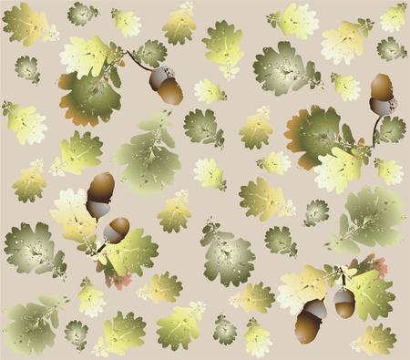 Autumn seamless background. Illustration  acorns. Vector
