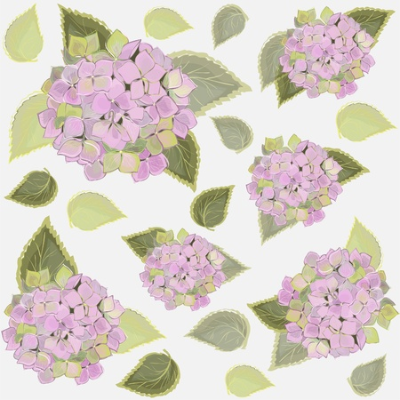 Seamless background from a flowers ornament, fashionable modern wallpaper or textile.Hydrangea. Illustration
