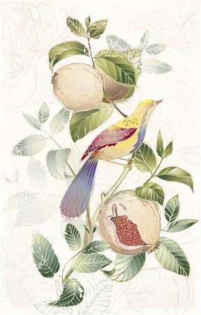 pajaro  dibujo: Tarjeta de felicitación con los pájaros y árboles granate. Vectores