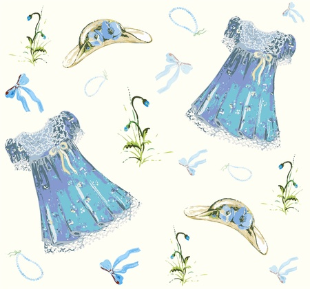 Vintage seamless  background.Illustration dress,hat,bow,poppy. Vector