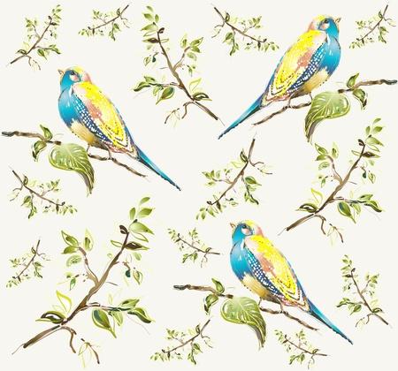 vintage bird: Seamless background. Illustration of birds.