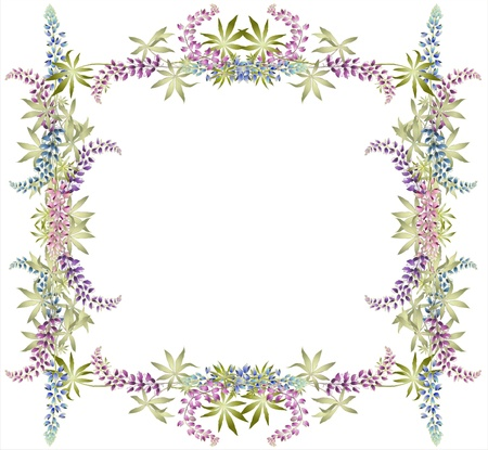 Greeting card with lupine . Illustration lupines. Vector