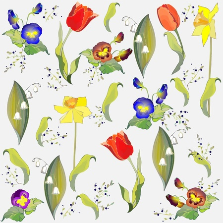 pansies: Seamless background from a flowers ornament, fashionable modern wallpaper or textile.