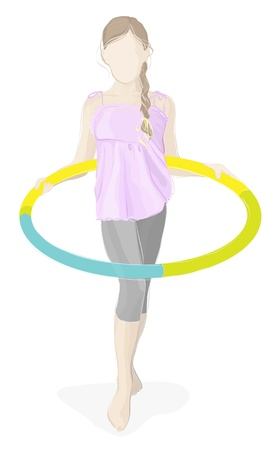 Beauty girl with hula hoop isolated on white Illustration