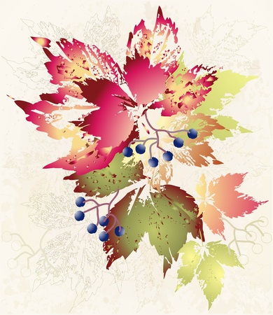 fall leaves background: Illustration wild grapes. Autumnal background.