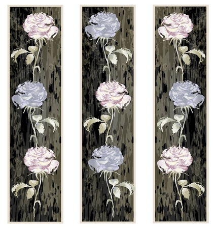 Vertical  banner floral elements.Illustration rose. Vector