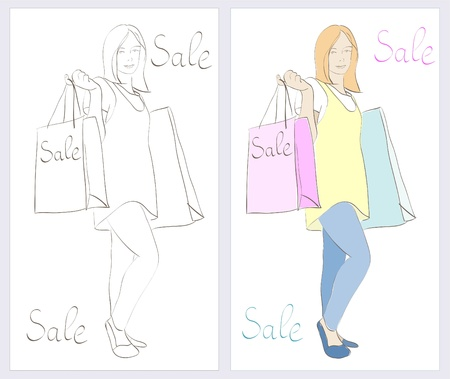 girl  doing shopping with word SALE on  bags.  Vector