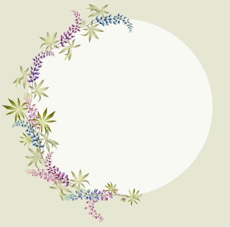 Greeting card with lupine . Beautiful decorative framework with flowers. Vector