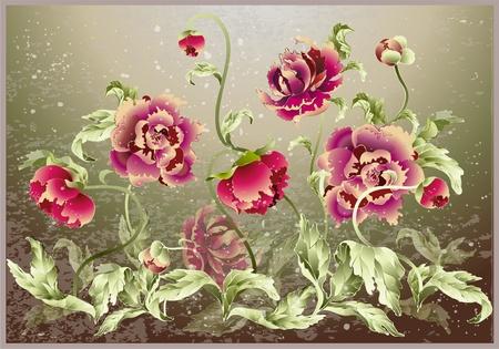 hand drawn flower: Greeting card with peony. Illustration peony.