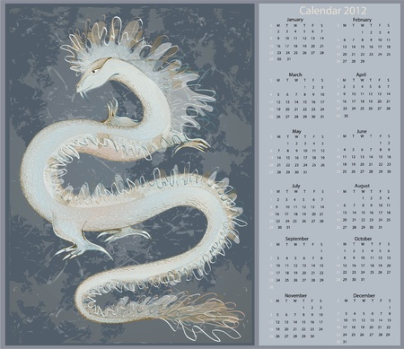 Vector calendar 2012. Illustration of a dragon.  Vector