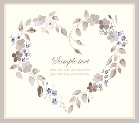 wedding card design: Beautiful decorative framework with flowers. .