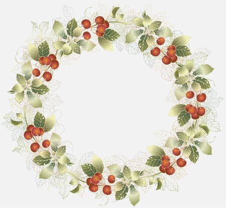 berry fruit: Greeting card with cherry. Decorative framework with cherry. Illustration