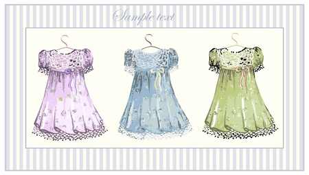 vintage children: Greeting card with dress.Illustration dress.