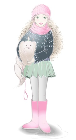 Trendy girl and a little dog. Illustration  girl with a dog. Vector