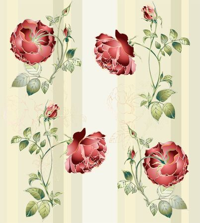 Seamless background.Illustration rose. Stock Vector - 10670363