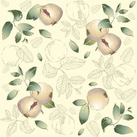 garnets: Seamless background. Illustration garnet tree.