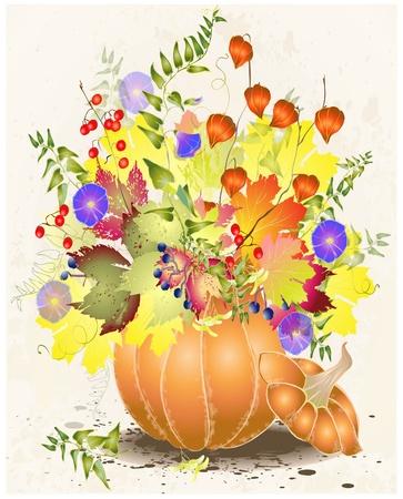 Carte de voeux avec une citrouille pumpkin.Illustration, raisins sauvages, canneberges, baies, feuillage, fleurs.