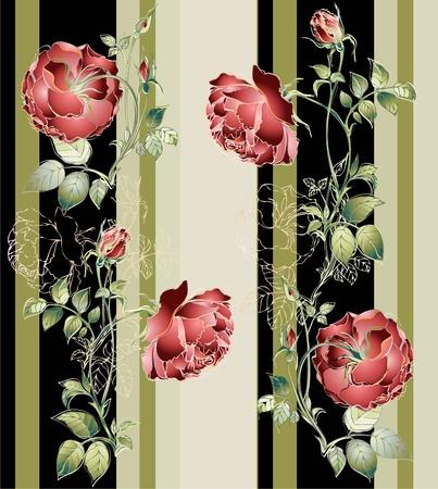 Seamless background.Illustration rose. Çizim