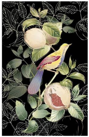 garnet: Greeting card with birds and garnet tree.