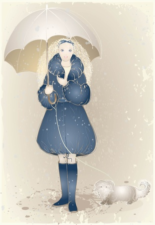 snow drops: Illustration girl with an umbrella and a dog.