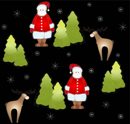 white tail deer: Seamless background.Illustration Santa and deer and fur-tree and snowflakes. Illustration