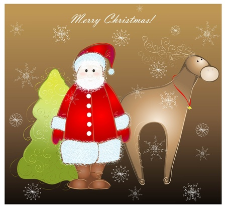 furtree: Greeting card with santa and deer and fur-tree. Illustration