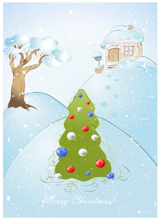 festoon: Greeting card with Christmas tree or New Year decorated toy glass and festoon.