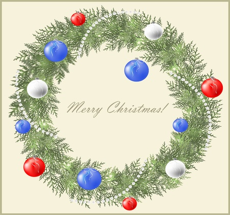 Christmas wreath consisting of twigs spruce, beads. Vector