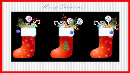 weihnachten: Greeting card with a Santas boot and gifts.