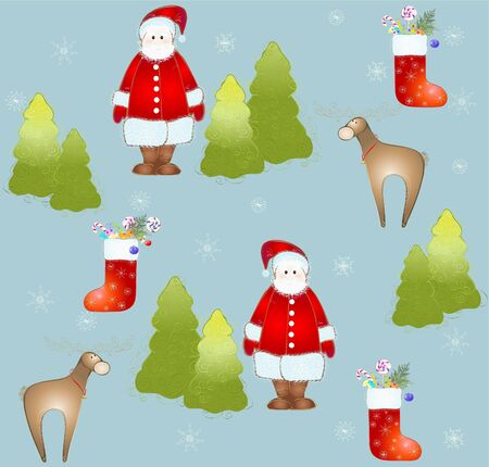 furtree: Seamless background.Illustration Santa and deer and fur-tree and snowflakes. Illustration