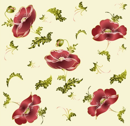 Seamless background from a flowers ornament, fashionable modern wallpaper or textile.   Illustration poppy. Vector