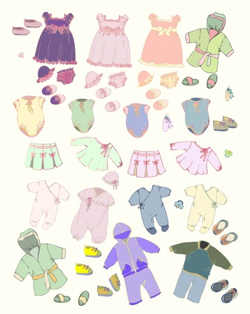 Set of children's clothes. Illustration of clothes for boys and for girls. Stock Vector - 11905667