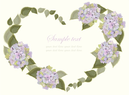 Decorative heart. Hand drawn valentines day greeting card. Illustration hydrangea.   Vector