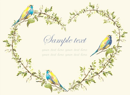 Decorative heart. Hand drawn valentines day greeting card. Illustration birds.