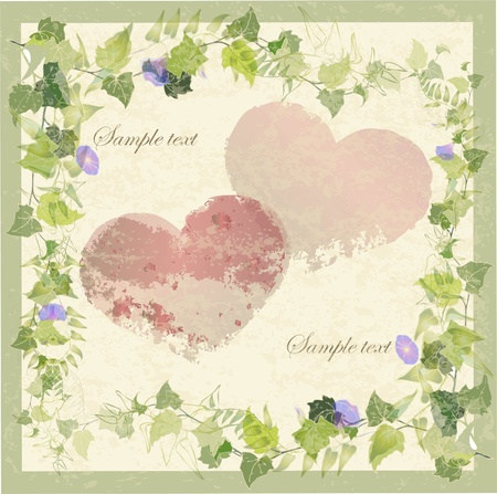 Vintage greeting card with wild ivy and hearts.Hand drawn valentines day greeting card.