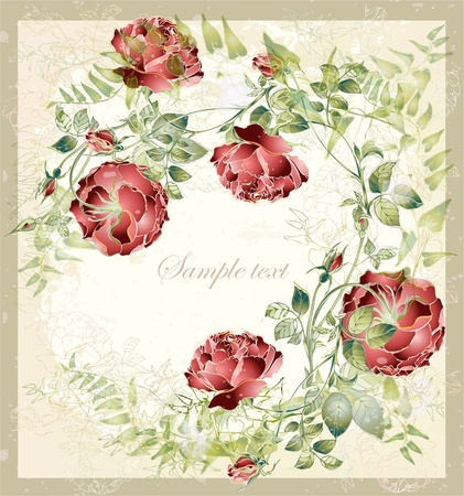 Greeting card with rose. Illustration  roses.  Vector
