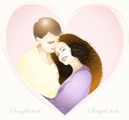 romance love: Happy young couple in love. Hand drawn valentines day greeting card. Illustration