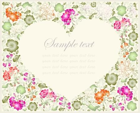 Illustration geranium. Decorative heart. Hand drawn valentines day greeting card.    Vettoriali