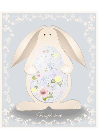 Easter card.  Illustration of an easter rabbit with egg. Illustration lace. Vector