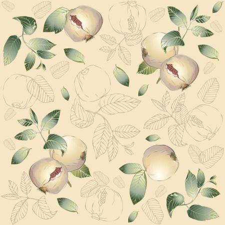 Seamless background. Illustration garnet tree. Vector