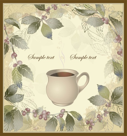 coffe break: Vector elegant coffee themed background illustration . Illustration of a coffee tree.Menu