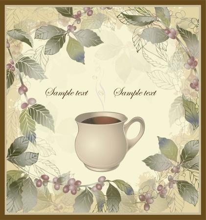 coffee crop: Vector elegant coffee themed background illustration . Illustration of a coffee tree.Menu