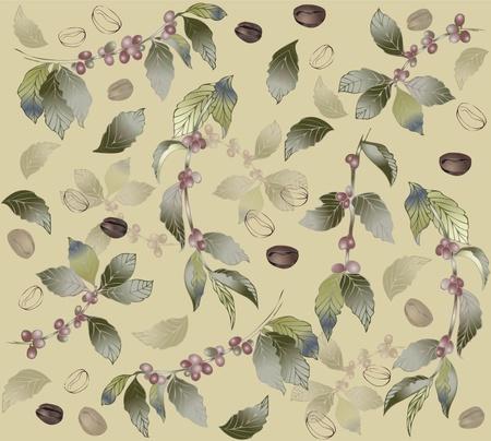 planta de cafe: De fondo sin fisuras con el árbol de ramas de café, papel tapiz moderna moda o textil. Ilustración de un árbol de café.
