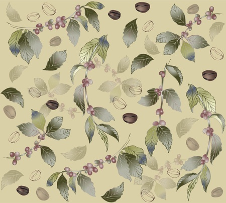 green coffee beans: Seamless background with branches coffee tree, fashionable modern wallpaper or textile. Illustration of a coffee tree.     Illustration