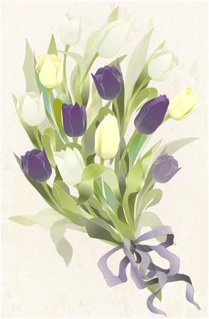 Boeket van tulpen. Lente tulp bloemen bos.