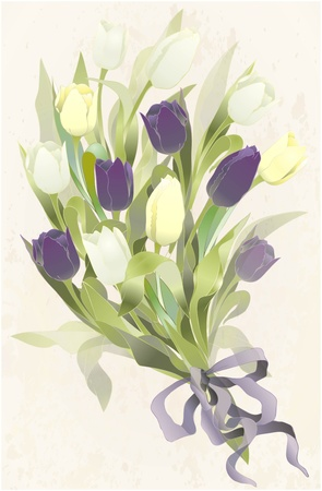 arrangement: Bouquet of tulips .  Spring tulip flowers bunch.