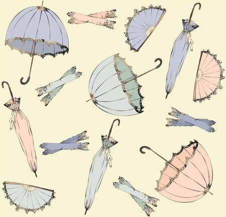 vintage woman: Illustration of vintage umbrella. Seamless background fashionable modern wallpaper or textile.