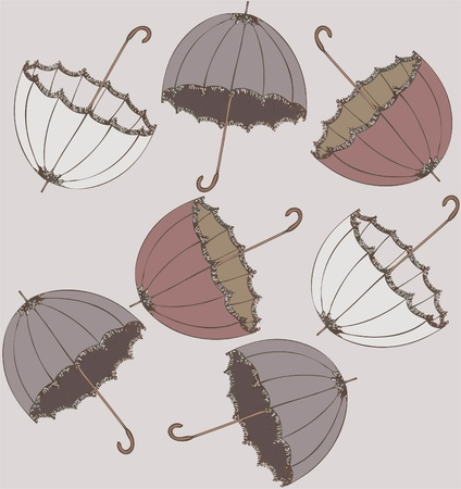 Illustration of vintage umbrella. Seamless background fashionable modern wallpaper or textile. Vector