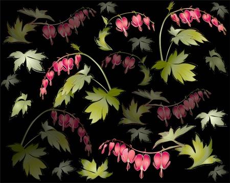 """hemorragias: De fondo sin fisuras desde un ornamento de flores, fondos de escritorio moderno de moda o textil. Ilustración """"Bleeding Heart"""" (Dicentra spectabilis)."""